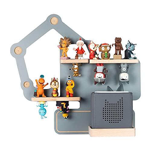BOARTI das Original Kinder Regal Bagger small in Grau - geeignet für die Toniebox und ca. 23 Tonies - zum Spielen und Sammeln