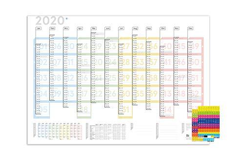 weekview A1-Wandplaner Colour, Lieferung gefaltet, inkl. Sticker