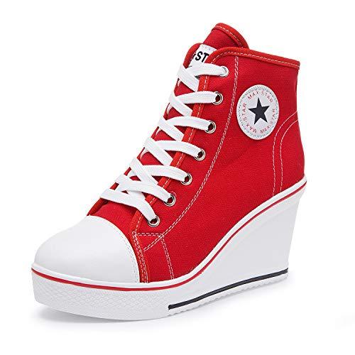 Mujer Cuñas Zapatos 35-43 EU De Lona High-Top Tacón 7 CM Zapatos Casuales Talla Grande Zapatillas de Cuña para Mujer Zapatillas de Deporte Zapatillas Altas Primavera/Verano Tacón Cuña