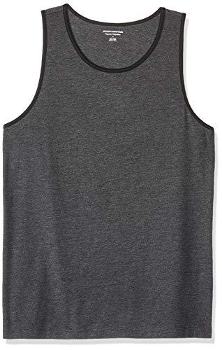Amazon Essentials - Camiseta sin mangas de ajuste regular para hombre, Carbón jaspeado/ negro, US L (EU L)