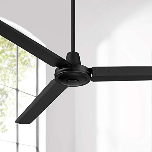 """60"""" Turbina DC Modern Contemporary Industrial 3 Blade Outdoor Ceiling Fan with Remote Control Matte Black Metal Damp Rated for Patio Exterior House Porch Gazebo Garage Barn - Casa Vieja"""