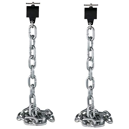 Happybuy Weight Lifting Chains, 1 Pair 26LBS/12KG Weight Lifting Chains,Bench Press Chains with Collars, 5.2FT Olympic Barbell Chains Weight Chains for Power Lifting, Silver