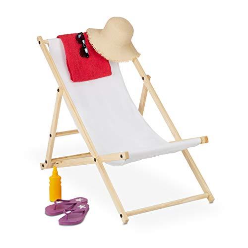 Relaxdays Liegestuhl klappbar, Holz & Stoff, Klappliege für Balkon, Garten, Strand, 3 Liegepositionen, Sonnenliege, weiß