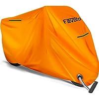 Favoto Funda para Moto Cubierta de la Motocicleta 210D Oxford Sellado Térmico de Costura a Prueba de Polvo Lluvia Viento Hojas Excrementos de Aves al Aire Libre XXXL 265cm Naranja