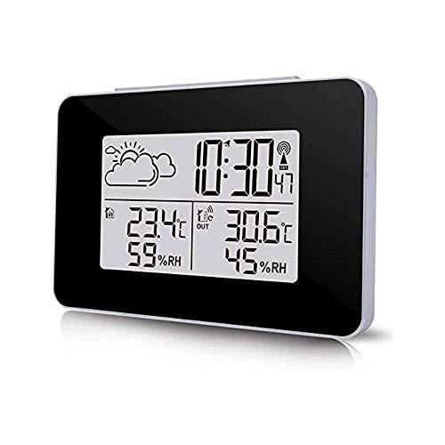 IG Großer Digitaler Wecker Mit Outdoor-Sensor-Wecker-Snooze-Luftfeuchtigkeitszähler, 12/24 Stunden, Snooze, Einstellbares Alarmvolumen, Schlafzimmerwecker