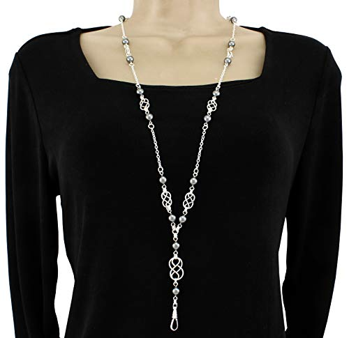 Brenda Elaine Jewelry Silver Plated Women's Fashion Lanyard Necklace ID Badge Holder, 32 Inch Silver Chain with Silver Celtic Knots and Dark Gray Pearls & Rear Lobster Clasp