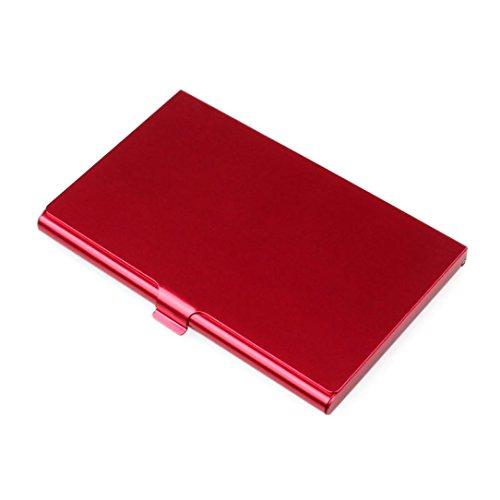 Tarjetero Metalico Hombre Rfid Tarjeteros Mujer Tarjetas Credito De Visita Baratos Marca Creativo Titular De Aluminio Caja De Metal Tapa De Tarjeta De Negocios Cartera (Rojo, 3.66'x 2.24' x 0.27')
