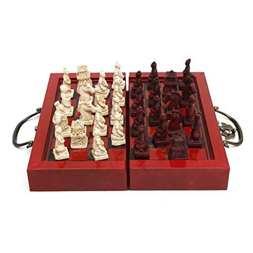 L.J.JZDY Schachbrett Hölzerne antike chinesische Schachfiguren Set Brettspiel Familie Freizeit Spielzeug Chinesisches Schach