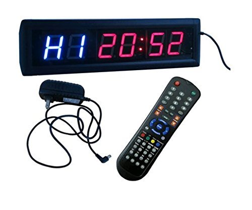 "BESTLED Crossfit Interval Timer Stopwatch Wall Clock w/IR Remote Control(14""x4""x1.5"")"