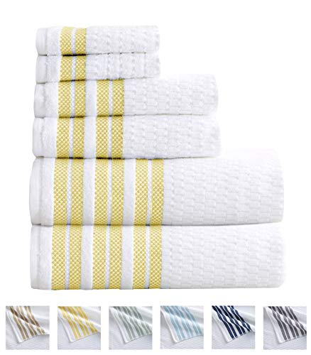 6-Piece Towel Set. 100% Cotton Popcorn Textured Striped Bathroom Towels. Quick Dry and Absorbent Towels. Set Includes 2 Bath, 2 Hand, and 2 Wash. Elham Collection. (6 Piece, Lemon)