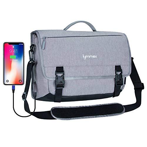 Lymmax Borsa a Tracolla, Cartella per Laptop con Porta di Ricarica USB Borsa a Tracolla Impermeabile a Tracolla