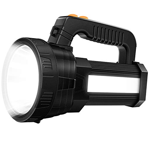 Super Bright LED Handheld Spotlight Tactical Flashlight Rechargeable 9600mAh 6000 Lumens CREE Bulb with USB Power Output Function Torchlight 6 Lights Modes Spot Light Waterproof Side Floodlight