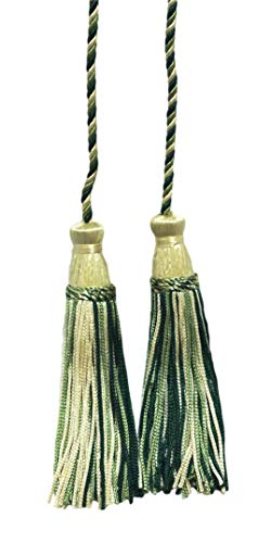DÉCOPRO Forest Green, Light Wheat, Olive Green Double Tassel/Tassel Tie with 10cm Tassels/Spread 74cm / Style# CDCT Color: Winter Forest - 20