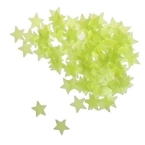 YiyiLai Lot de 100 Autocollant Lumineux Résine 3D Décoration Chambre Enfant Vert