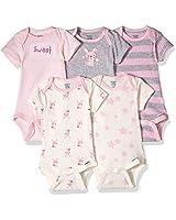 GERBER Baby 5-Pack Organic Short-Sleeve Onesies Bodysuit, Bunny, Preemie