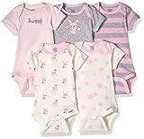 Gerber baby girls 5-pack Organic Short-sleeve Onesies infant and toddler bodysuits, Bunny, Preemie US