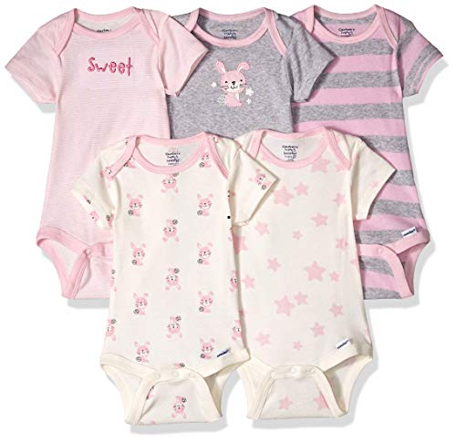 Gerber Baby Girls' Organic 5-Pack Short-Sleeve Onesies Bodysuits, bunny, 3-6 Months