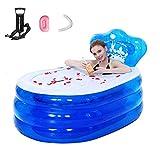 WGXY Bañera Plegable portátil Plegable de PVC Portable Adulto Golpe bañera Inflable Aire de la Tina de baño de diversión Familiar Salón Piscina Inflable para los niños,Azul,160 * 90 * 75cm