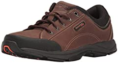 GENUINE LEATHER: Genuine leather nubuck offers natural comfort and durability SOFT, BREATHABLE INTERIOR: Textile footbed cover and mesh lining offer breathability so every step you take is cool and confident SHOCK ABSORPTION: truTECH is Rockport's li...