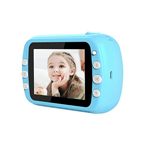 """i-Paint P9 Macchina fotografica istantanea per Bambini, Stampa B/N su carta termica, Fotocamera 1080P Videocamera Digitale FHD, LCD da 3.5"""", Micro SD da 32GB (Blu)"""