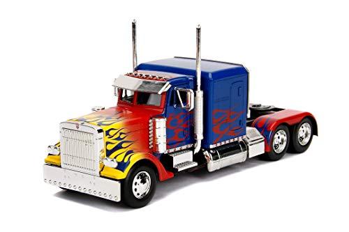 Jada Toys Transformers T1 Optimus Prime - Coche de Juguete (Escala 1:24), Color Azul y Rojo