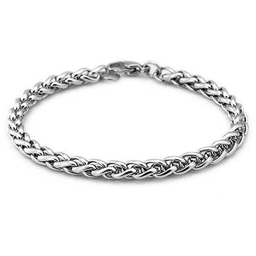 Pulsera Brazalete, Joyeria Regalo, Knit Keel Wheat Stainless Steel Bracelet 4/5/6Mm DIY Jewelry Bangle For Men Women Wholesale 1Pcs 4mm 20cm