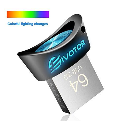 USB Stick 64GB, EIVOTOR LED Memory Stick USB 3.0 Lighting Flash Drive Leuchtend Mini Speicherstick Wasserdicht USB Flash Laufwerk Pendrive Data Traveler Geschenk für Schule Büro Auto PC Kinder