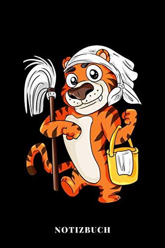 Notizbuch: Tiger mit Putzeimer und Wischmop