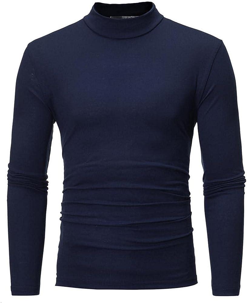 Huangse Mens Basic Solid Color Long Sleeve T-Shirt Designed Turtleneck Slim Fit Tee Shirts Autumn Winter Base Layer Tops