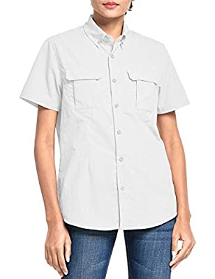 BALEAF Women's UPF 50+ Sun Protection Hiking Shirt Short Sleeve White S
