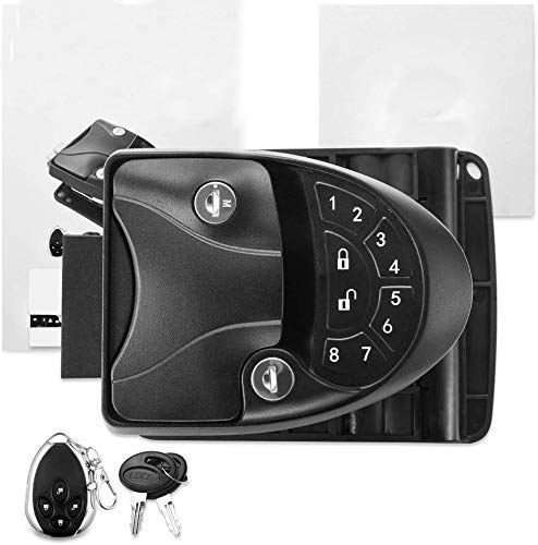 MKING RV Keyless Entry Door Lock Handle Latch, 20Meter Wireless Remote Control for Trailer Caravan Camper Lock with Keypad & Fob