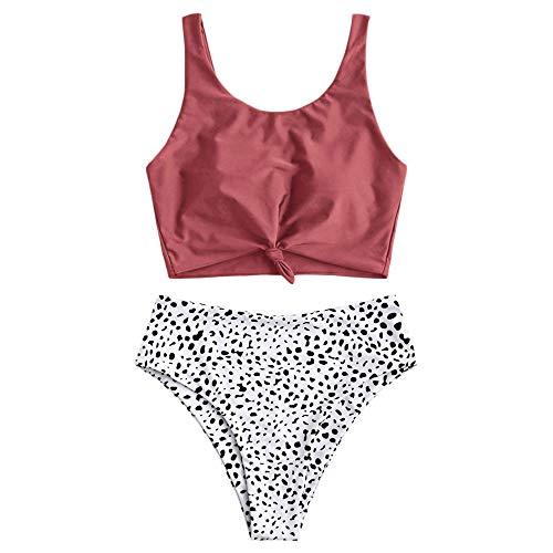 ZAFUL Zweiteiliger Beachwear Set, verknotet Oberteil mit Schulterträger & Tropisches Blattmuster Badehose (Kirschrot, S)