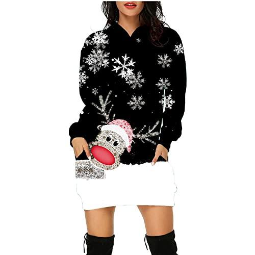 BOLANQ Damen Herbst Kleider Weihnachten Colourblock Printed Pullover Knielanges Ärmel Sweatshirt Kleid
