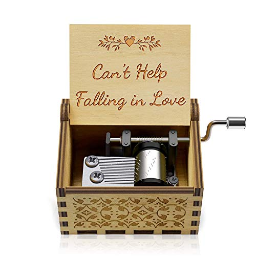 """Wooden I Love You Music Box """"Can't Help Falling in Love""""Engraved hand crank mini wood musical box Gift for Love one, Boyfriend, Girlfriend, Wife, Husband Valentine's Day wedding anniversary birthday"""