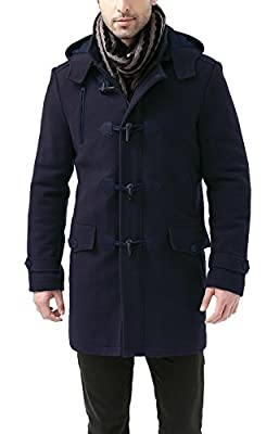 BGSD Men's Tyson Wool Blend Leather Trimmed Toggle Coat Navy Medium from