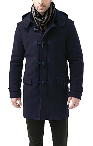 BGSD Men's Tyson Wool Blend Leather Trimmed Toggle Coat Navy Medium