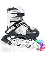 احذية تزلج من جو واك بعجلات مع اضاءة ليد، تتحول من حذاء ثلاثي العجلات الى زلاجات مضمنة | احذية تزلج للاستخدام داخل المنزل وخارجه للمبتدئين | احذية تزلج للاطفال والمراهقين