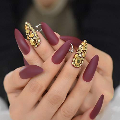 TJJL Faux ongles Ongles bruns mat Art conseils or Sharp Punk Sharp Stiletto faux ongles définit strass pleine couverture longs ongles