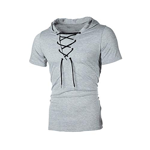CFWL Four Seasons Herren Kapuze Loose Hip Hop Casual Kurzarm T-Shirt Short-Sleeve Gingham Shirt Aus Leinen, Normale Passform Hemd Slim Fit Kontrast Hemd Herren-Hemd Grey2 XXL
