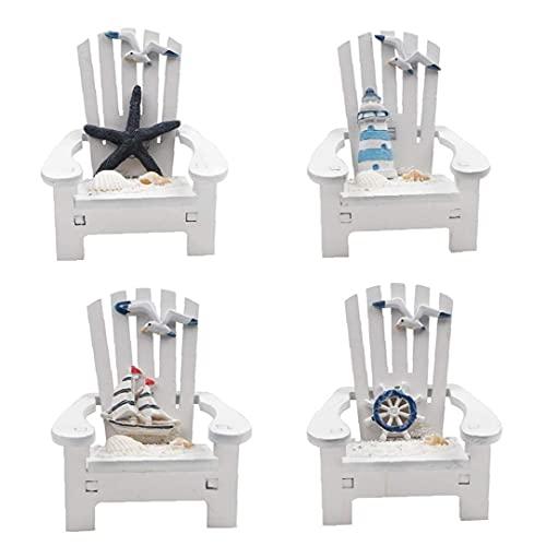 Liadance Inicio Adornos Decorativos de la Playa Ornamento Silla de Madera Decoraciones del Arte Mini para Dollhouse Decoración 4PCS