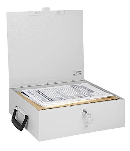 Wedo 1021637 Dokumenten Ordnerkassette A4, 36,5 x 33 x 11 cm, Sicherheitsschloss, 2 Schlüssel, Koffergriff, Stahlblech, lichtgrau