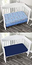 EVERYDAY KIDS 2 Pack Fitted Boys Crib Sheet, 100% Soft Microfiber, Breathable and Hypoallergenic Baby Sheet, Fits Standard Size Crib Mattress 28in x 52in, Nursery Sheet - Rescue/Blue