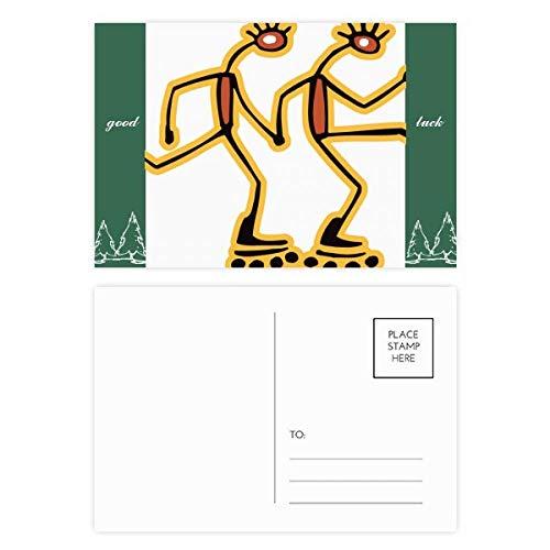 Ägypten-Figur Rollschuhe Muster Glücksbringer Postkartenset Karte Mailing Seite 20 Stück