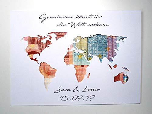 Geldgeschenk zur Hochzeit Weltkarte - Gemeinsam könnt ihr die Welt erobern OHNE Rahmen