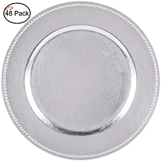 Tiger Chef 13-inch Silver Round Beaded Charger Plates, Set of 2,4,6, 12 or 24 Dinner Chargers - Set of 48, silver chargers plates