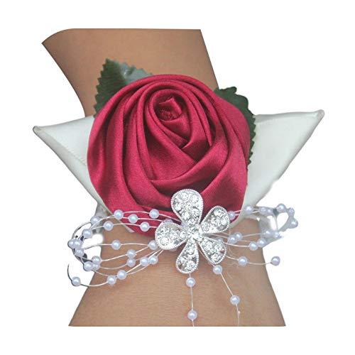 Hopereo Pulsera elástica hecha a mano de raso rosa de muñeca ramillete de boda, fiesta de graduación, dama de honor nupcial de la muñeca de la flor de perlas de imitación con cuentas de
