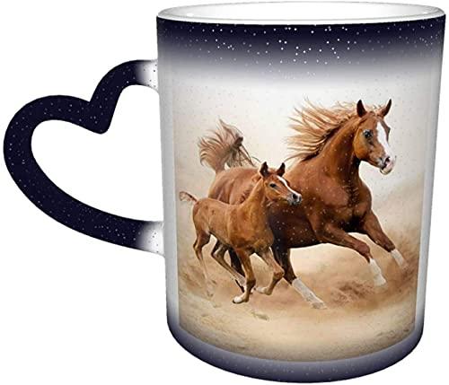 Tasse à changement de couleur sensible à la chaleur magique de motif de cheval deux magnifiques dans le ciel tasses à café d'art drôle cadeaux personnalisés pour les amoureux de la famille a
