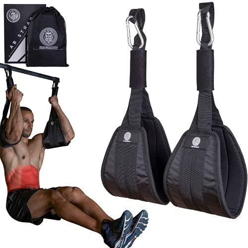 Zeus X Premium Heavy Duty Hanging Ab Straps for Pull Up Bar - Gym Equipment Abs Exerciser - Men & Women - Abdominal Core Muscle Exercise Trainer - Comfortable Padding - Gym Bag Included