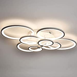 LED Ceiling Light Fixture,69W Modern Lamps 8 Ring,Living Room Hanging Lighting Dimmable with Remote 1 Flush Mount Metal Frame Acrylic Shade Round Decorative for Bedroom,Dining Room,Kitchen
