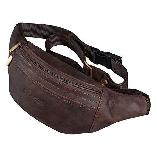 STILORD 'Marquez' Riñonera Cuero Cuero Ideal Bolso Bandolero Hombro Cross-Body Bolsa de Cinturón Vintage para Hombres Mujeres Bolsa de Correa de Cuero Real, Color:Granada - marrón
